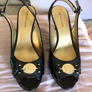 Ann Klein black leather sling back shoes